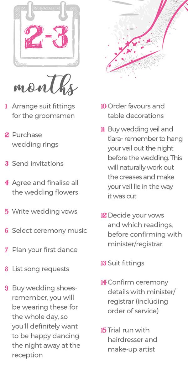 Wedding Checklist 2-3 Months