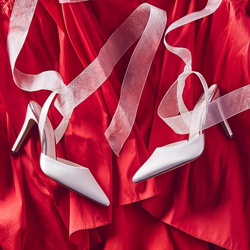 Pandora - Chiffon Ribbon Bow Wedding Heels