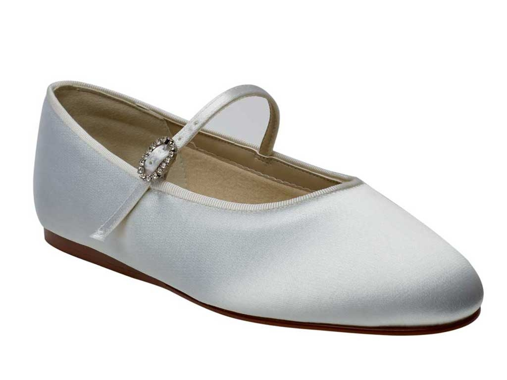 Rainbow Club Abigail Ivory Satin Kids Bridesmaid Flower Girls Shoes