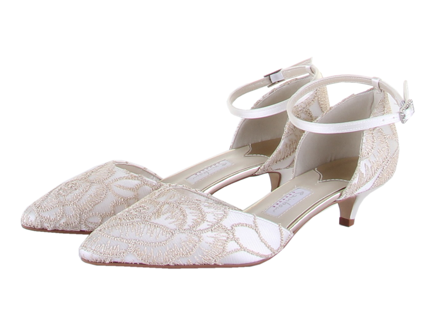 wedding shoes kitten heel rainbow club albany gold embroidered ivory satin kitten 1124