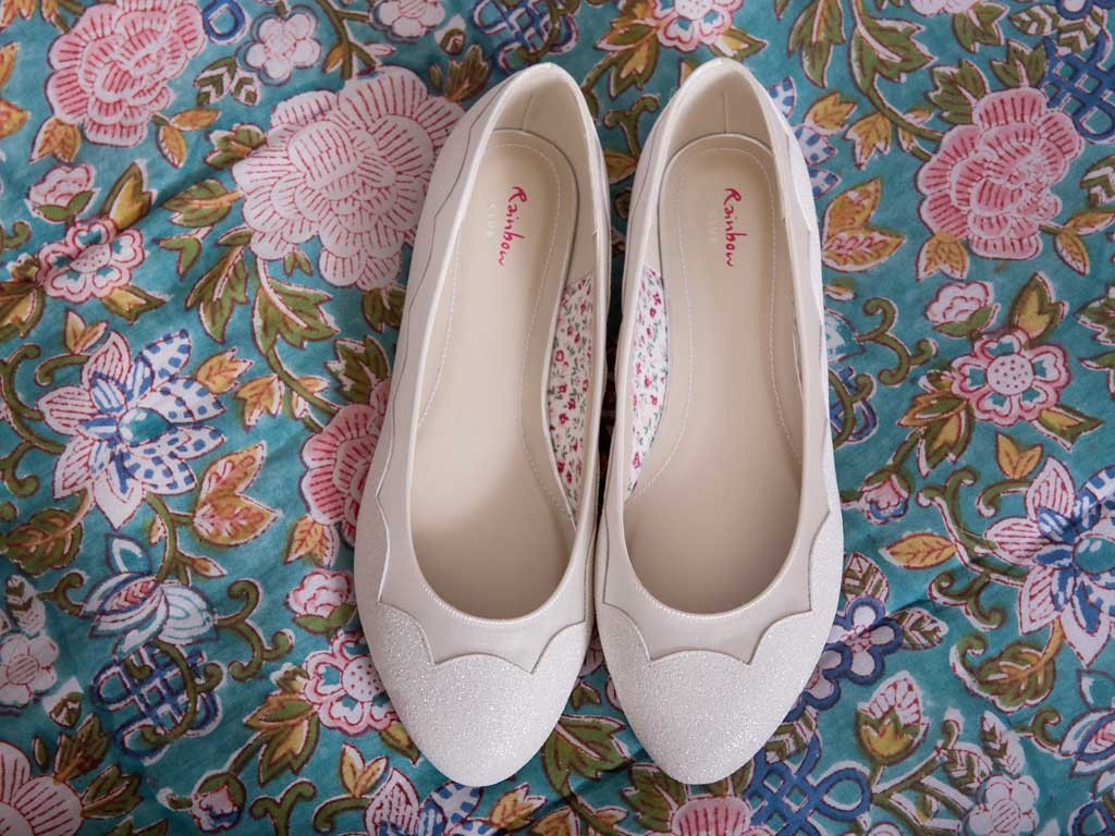 Miss Rainbow Kids Flat Pump Shoes Girls Ivory Shimmer Cecily