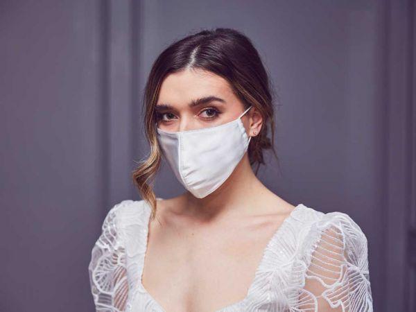 Ariel - Ivory Satin Wedding Face Mask