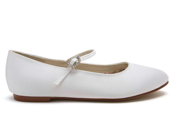 Binx - White Satin Girls Communion Ballet Pumps