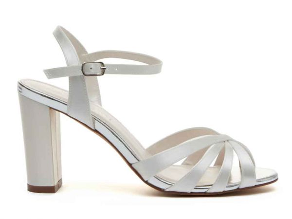 Blake - Ivory Satin Block Heel Wedding Shoes