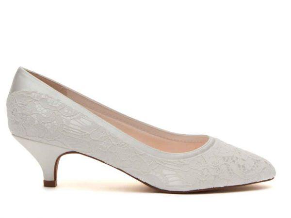Bobbie - Ivory Satin & Luxury Lace Court Shoe