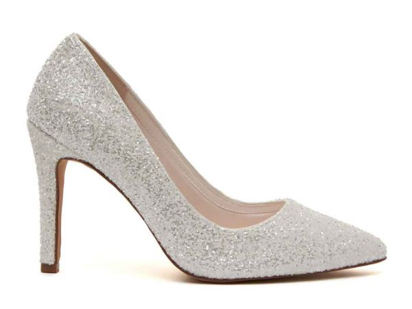 Coco - Ivory Snow Glitter Bridal Court Shoes