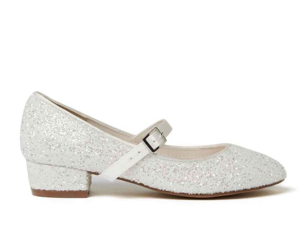 Edith - Ivory Snow Glitter Kids Shoes
