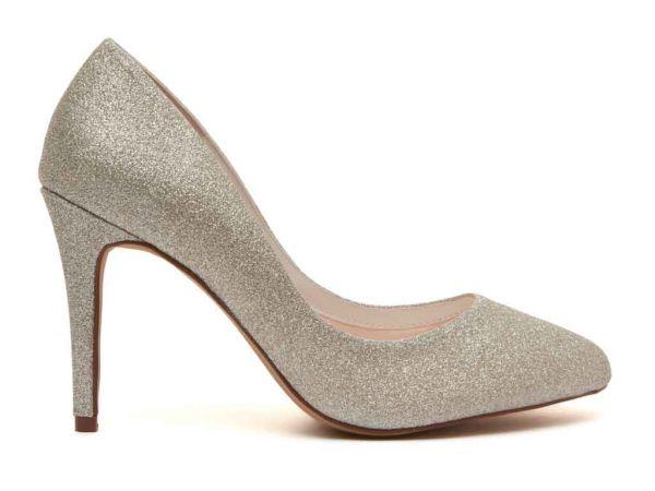 Erika - Silver Fine Shimmer Court Shoe