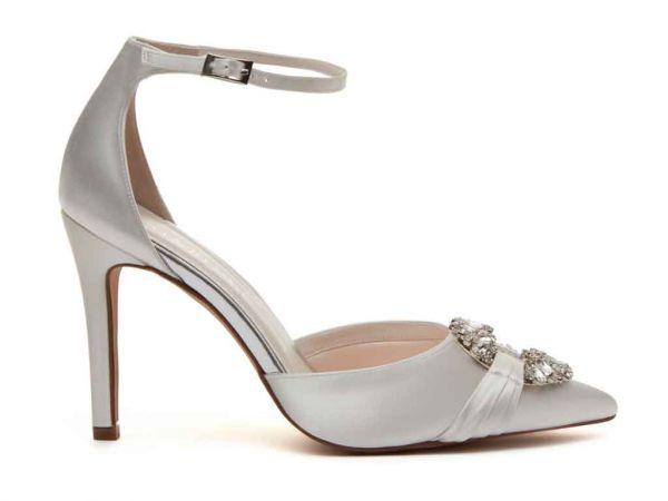 Filippa - Ivory Satin Ankle Strap Shoes