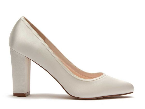 Keily - Ivory Satin Block Heel Wedding Shoes