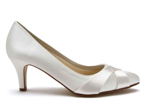 Lexi - Ivory Satin Wide Fitting Court Shoes