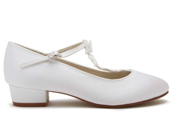 Lolly - White Satin Butterfly Detail Kids Shoes