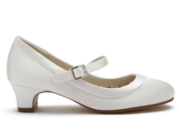 Maisie - Ivory Satin Small Heel Kids Shoes