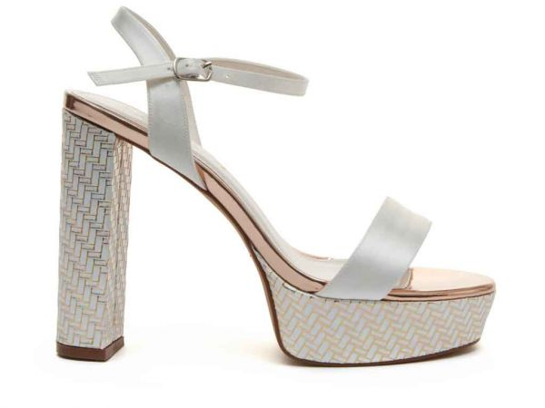Nattie - Ivory Satin & Gold Parquet Heel Retro Platforms