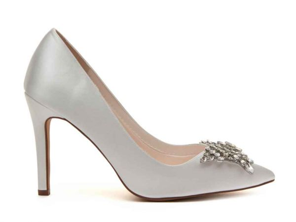Nelly - Ivory Satin Court Shoes