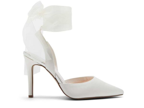 Pandora - Ivory Chiffon Ribbon Bow Bridal Shoes