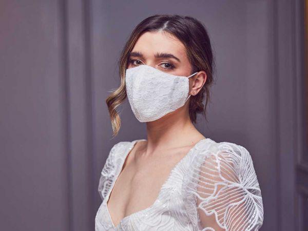 Portia - Ivory Luxury Lace Bridal Face Mask