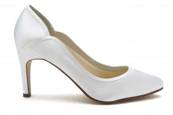 Lucy - White Satin Court Shoes