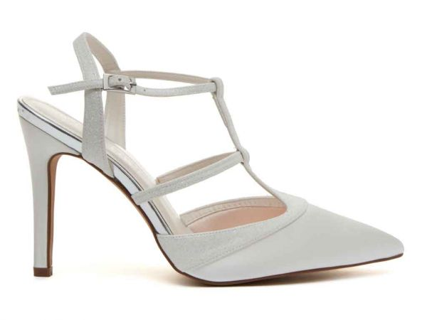 Rita - Ivory Satin & Ivory Fine Shimmer Court Shoe