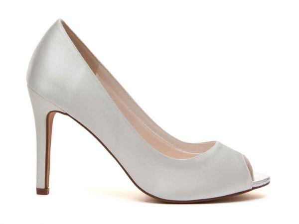 Robyn - Ivory Satin Peep Toe Shoe