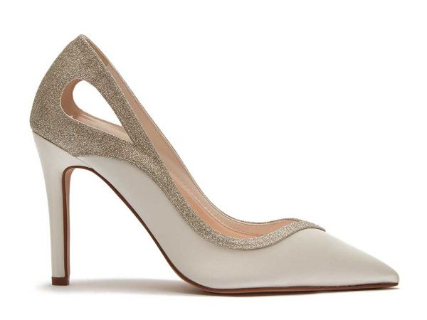 Sadie - Ivory Satin Cut-Out Detail Wedding Shoes