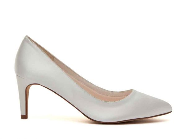 Stella - Ivory Satin & Silver Fine Shimmer Court Shoes