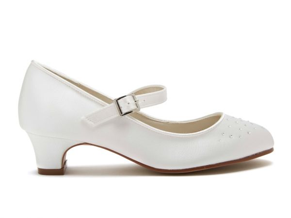 Verity - Ivory Satin Girls Bridesmaid Shoes