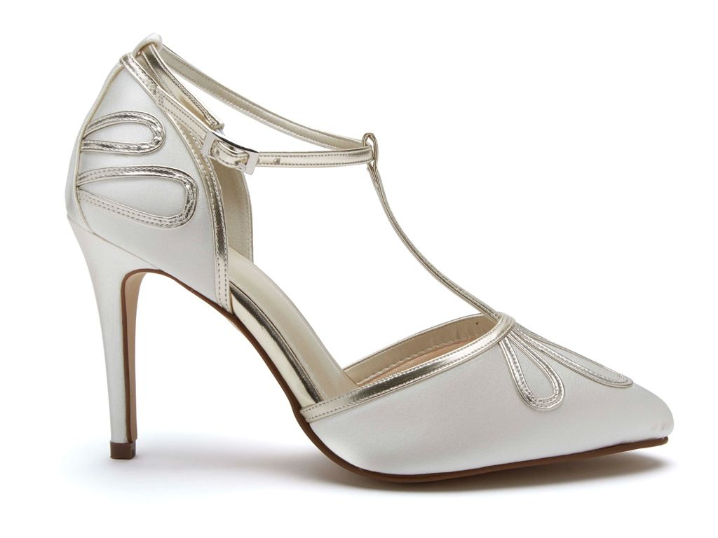 Rainbow Club Elspeth T Bar Satin Court Wedding Shoes Rainbow Club
