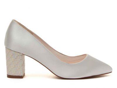 Bambi - Ivory Satin & Parquet Heel Court Shoe