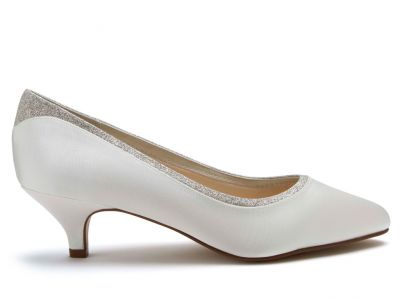Bobbie - Ivory Shimmer Low Heel Wedding Shoes