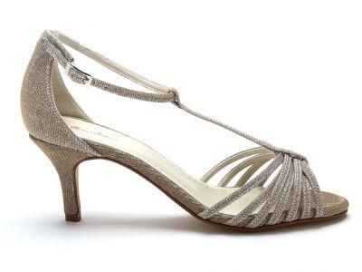 Estelle - Gold Metallic T-Bar Wedding Sandals