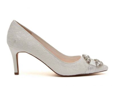 Luxury Lace and Ivory Satin Blend Wedding Shoe - Giovanna is embellished with crystal detailing for a stand out bridal shoe