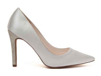 Kiki - Ivory Satin & Silver Fine Shimmer Heeled Court Shoe