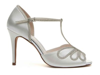Luciana - Ivory Satin & Silver Fine Shimmer T-Bar Shoes