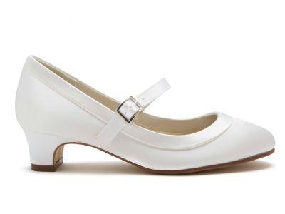 Maisie - White Satin Girls Communion Shoes