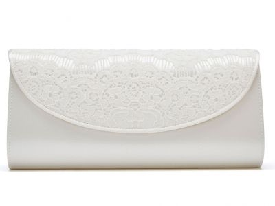Melody - Ivory Satin and Lace Handbag