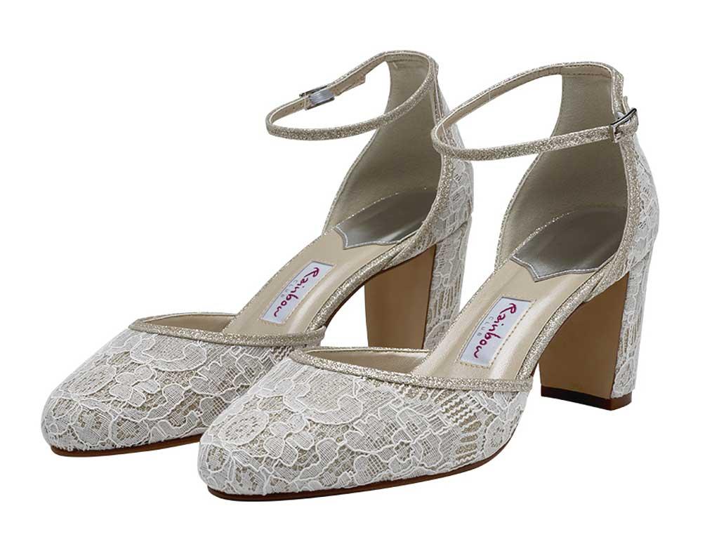Lace Wedding Shoes.Lavinia Lavinia Block Heel Shimmer Lace Shoes