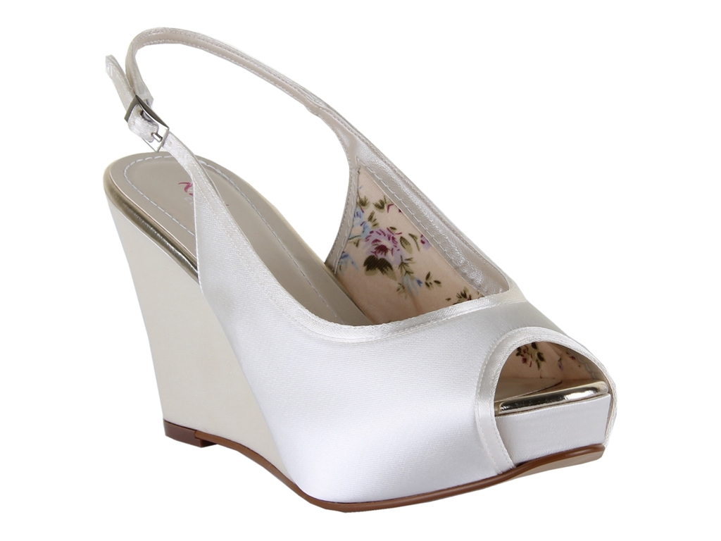 A 9cm Platform Wedge Sling Back With Narrow Satin Overlay That Is Perfect For Summer Events