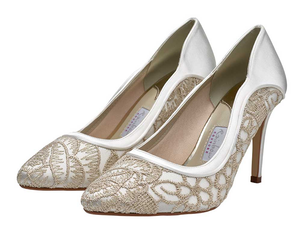 d71af6cbe2f Details about Rainbow Club Lorna Ivory Satin Gold Embroidered High Heel  Bridal Shoes