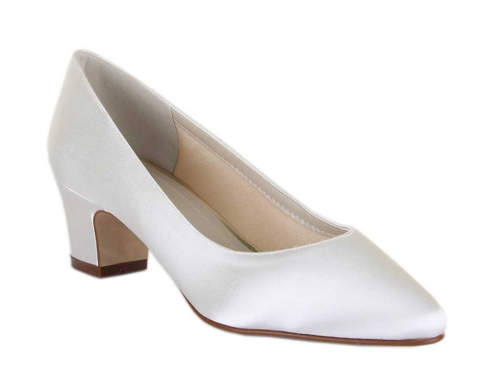 An Elegant Mid Height Court Shoe With A Contemporary Block Heel, Perfect  For A Traditional Style Wedding.