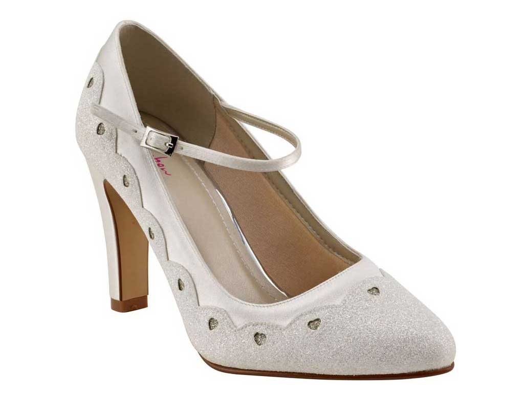 Trixie Block Heel Ivory Shimmer Mary-Jane Shoe